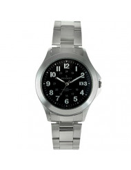 Peugeot Men Army Military Style Quartz Weekender Watch with 24-Hour Time & Stainless Steel Bracelet
