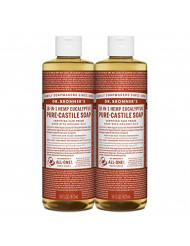 Dr. Bronner's - Pure-Castile Liquid Soap (Eucalyptus, 16 ounce, 2-Pack) - Made with Organic Oils, 18-in-1 Uses: Face, Body, Hair, Laundry, Pets and Dishes, Concentrated, Vegan, Non-GMO