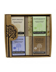 Plantlife Aromatherapy Herbal Soap 4 Pack Combo - Earth Gift Set - Patchouli, Peppermint, Lavender, and Oatmeal Almond