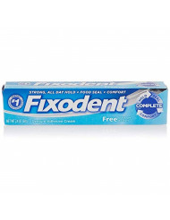Fixodent Complete Free Denture Adhesive Cream 2.4 Oz (Pack of 6)