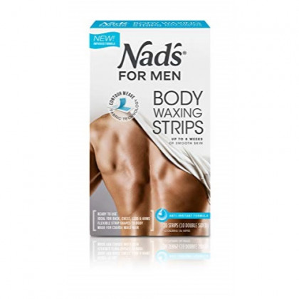 Nad's For Men Body Wax Strips - Wax Hair Removal For Men - At Home Waxing Kit With 20 Waxing Strips + 2 Calming Oil Wipes