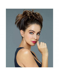 """Twirl Ups Color Dark Brown - Revlon Hairpiece Overall Length 8"""" Straight Style Synthetic Attached Comb Clip Around Bun Pedazo de cabello"""