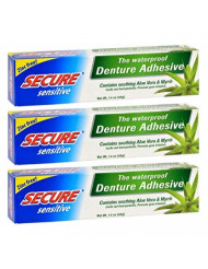 Secure Sensitive Gums Waterproof Denture Adhesive Zinc Free with Aloe Vera & Myrrh - Extra Strong 12 Hour Hold - 1.4 oz (Pack of 3)