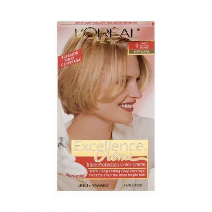 L'Oreal Paris Excellence Creme Permanent Hair Color, 9 Light Natural Blonde, Pack of 1 kit 100% Gray Coverage Hair Dye