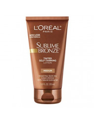 L'Oreal SUBLIME BRONZE Tinted Self-Tanning Lotion Medium Natural Tan 5 oz (Pack of 3)