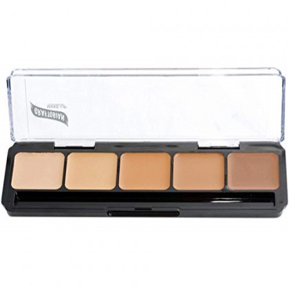 Graftobian HD Glamour Creme Foundation Palette, Warm #3 - High Definition 5 Color Palette - Medium/Dark Warm Shades