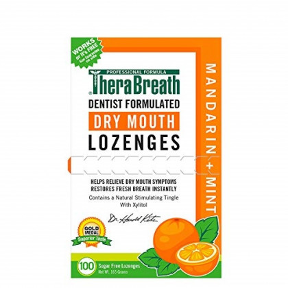 TheraBreath Dry Mouth Lozenges, Mandarin Mint Flavor, 100 Lozenges