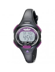 Timex Women's T5K523 Ironman Essential 10 Mid-Size Black/Purple Resin Strap Watch