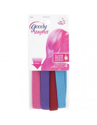 Goody Slide Proof Stayput, Girls Thin No Slide Headband, 4 Count (Pack of 3)