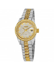 Akribos XXIV Women's Diamond Watch - Crystal Pave Dial And Bezel with Date Window On Two-Tone Gold Stainless Steel Bracelet - AK487
