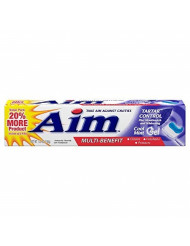 Aim Tartar Control Plus Mouthwash & Whitening Anticavity Fluoride Toothpaste, Cool Mint Gel, 6 Oz (Pack of 6)