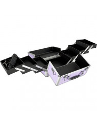 SunRise C0001 3-Tier Accordion Trays Makeup Case with Shoulder Strap, 10-Inch, Smooth Purple