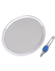 DBTech Large Suction Cup Magnifying Mirror with Precision Tweezers (8-Inch 8x)