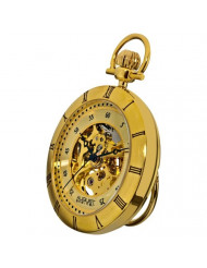 August Steiner Automatic Mechanical Movement Mens Pocket Watch - Skeleton Inner Dial with Matching Chain - AS8017