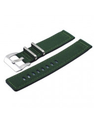 Italian Design 2 Piece Quality Textile Canvas 22mm Army Green Pre-V Buckle Replacement Watch Band