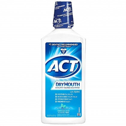 ACT Dry Mouth Anticavity Fluoride Mouthwash Soothing Mint 33.8 oz  (Pack of 3)