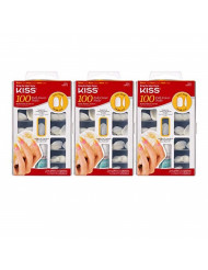 Kiss 100 Full Cover Nails Active Oval (Medium Length) (3 Pack)