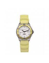 Women's Quartz Watch   M1 Mini by Momentum   Stainless Steel Watches for Women   Dive Watch with Japanese Movement & Analog Display   Water Resistant Ladies Watch with Date - White/Yellow Rubber
