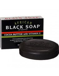 Madina African Black Soap Cocoa Butter with Vitamin E, 3.5 oz ( Pack of 3)