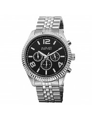 August Steiner Men's Multifunction Watch - 3 Black Multifunction Subdials Include Day, Date and GMT on Silver Stainless Steel Bracelet - AS8096