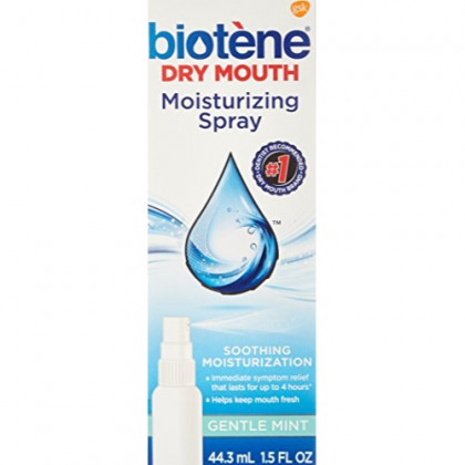 Biotene Gentle Mint Moisturizing Mouth Spray, Sugar-Free, for Dry Mouth and Fresh Breath, 1.5 ounce (Pack of 2)