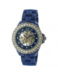 Womens Ceramic Mechanical Skeleton Watch - Hand Wind Up Movement, Dial Crystal Bezel and Ceramic Bracelet, Blue