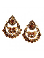 Storeindya Teardrop Dangle Earrings Christmas Gifts Women Fashion Jewelry Accessories Adorned with Stones Jewelry Indian Ethnic Jewelry Graceful Antique Ethnic Jewelry