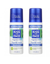 Kiss My Face Paraben Free Liquid Rock Roll-On Deodorant, Fragrance Free - 3 oz - 2 pk