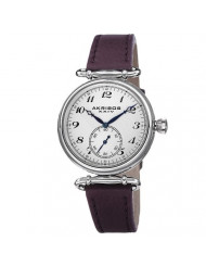 Akribos XXIV Women's 'Impeccable' Swiss Quartz Watch - Clear Arabic Numerals Hour Markers With Second Subdial On Purple Genuine Leather Strap - AK704