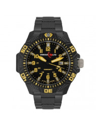 Armourlite Yellow Caliber Series Polycarbon Tritium Watch Black Steel Band