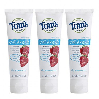 Tom's of Maine Fluoride-Free Children's Toothpaste, Kids Toothpaste, Natural Toothpaste, Silly Strawberry, 4.2 Ounce, Pack of 3
