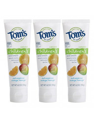 Tom's of Maine Anticavity Fluoride Children's Toothpaste, Kids Toothpaste, Toothpaste for Kids, Outrageous Orange-Mango, 4.2 Ounce (Pack of 3)