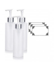 Clear Natural Refillable Plastic Squeeze Bottle with Silver Pump Dispenser - 6 oz (3 Pack) + Labels
