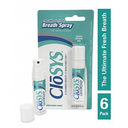 CloSYS Oral Breath Spray, .25 Ounce (6 Count), Mint, Sugar Free, pH Balanced, Eliminates Bad Breath