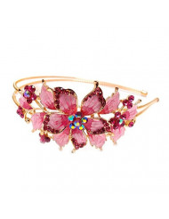 New pink Crystal Rhinestone gold tone metal big Flower design Headband #1212 by beautyxyz