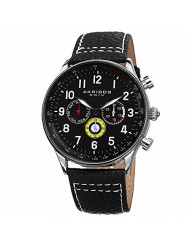 Akribos XXIV Multicolored Complications Men's Watch - 3 Subdials On Leather Calfskin with White Stitching Strap - AK751
