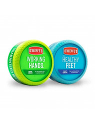 O'Keeffe's Working Hands 3.4 ounce & Healthy Feet 3.2 ounce Combination Pack of Jars