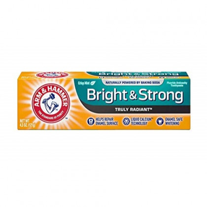 ARM & HAMMER Bright & Strong Truly Radiant Toothpaste, Crisp Mint 4.3 oz (Pack of 12)