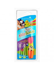 Brush Baby KidzSonic Toddler and Kid Electric Toothbrush for Ages 3+ Years - Disco Lights, Gentle Vibration, and Smart Timer Provide a Fun Brushing Experience - (3) 3+ yrs Brush Heads Included (Pink)