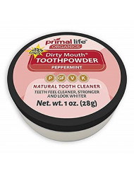 Primal Life Organics | Dirty Mouth Organic Tooth Powder | Gently Polishes, Whitens, Re-Mineralizes, Strengthens Teeth | 1 Ounce (3 Month Supply) | Peppermint