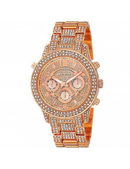 Akribos XXIV Women's AK776RG Crystal Encrusted Swiss Quartz Movement Watch with Rose Gold Dial and Bracelet
