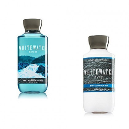 Bath Body Works Men Lotion and Hair Body Wash Set, Whitewater Rush