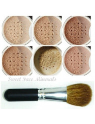 XXL KIT with BRUSH (WARM-Neutral Shade- Most Popular) Full Size Mineral Makeup Set Bare Face Powder Matte Foundation Cover