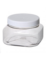 Bargz Plastic Jars - 8 Oz.70mm Clear Shape - White Lined Ribbed - Pack of 12