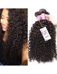 Unice Hair 3 Bundles Brazilian Curly Virgin Hair Weave 16 18 20 inches, Unprocessed Virgin Human Hair Extensions Natural Color