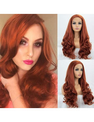 K'ryssma #360 Copper Red Lace Front Wigs Auburn Long Wavy Synthetic Wigs For Women 26 inches