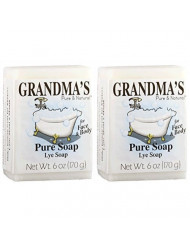 Grandma's Pure Lye Soap Bar - 6.0 oz Unscented Face & Body Wash Cleans with No Detergens, Dyes & Fragrances - 60018 (2 Pack)