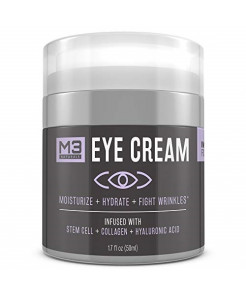 M3 Naturals Eye Cream Infused with Collagen Stem Cell and Hyaluronic Acid for Puffiness Wrinkles Dark Circles Under Eye Bags Fine Lines Anti Aging Treatment Healthy Skin Care Moisturizer 1.7 fl oz