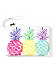 """Me Plus Pu Leather """"Pineapple"""" Print Travel Organizer, Cosmetic Makeup Storage Pouch ,Students BTS Organization Bag (Pineapple)"""