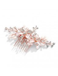 Mariell Rose Gold Bridal Comb with Freshwater Pearl, Hand-Painted Enamel Leaves and Austrian Crystals